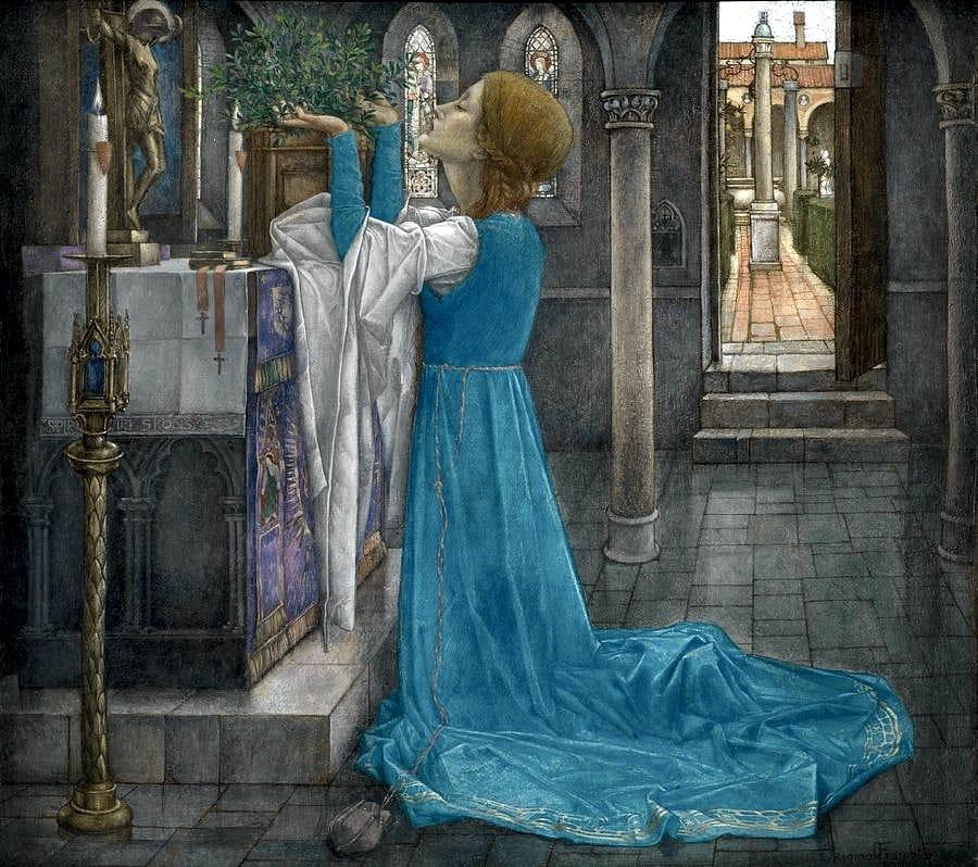 Lisabetta e il suo vaso in un quadro di Edward Reginald Frampton