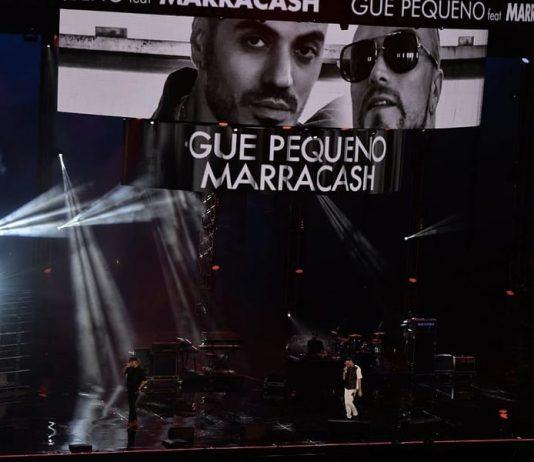 Marracash e Gué Pequeno, due tra i migliori rapper italiani, durante un'esibizione a due (foto di Raphael Mair via Wikimedia Commons)