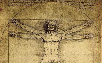 La sezione aurea nell'arte, con anche l'uomo vitruviano di Leonardo da Vinci