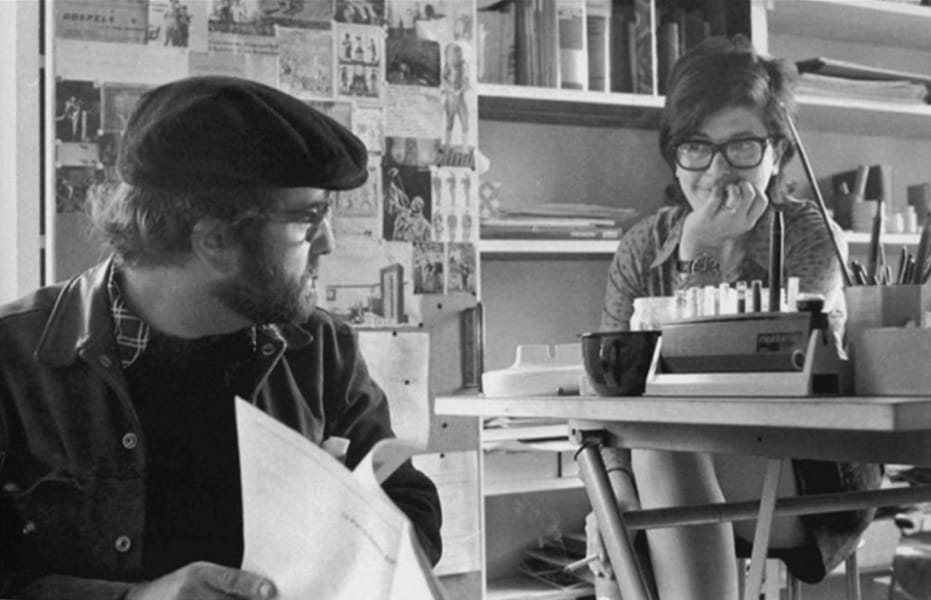 Lucio Dalla con Paola Pallottino negli anni '70