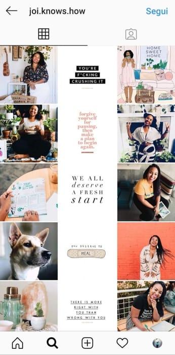 Un feed Instagram organizzato con Preview