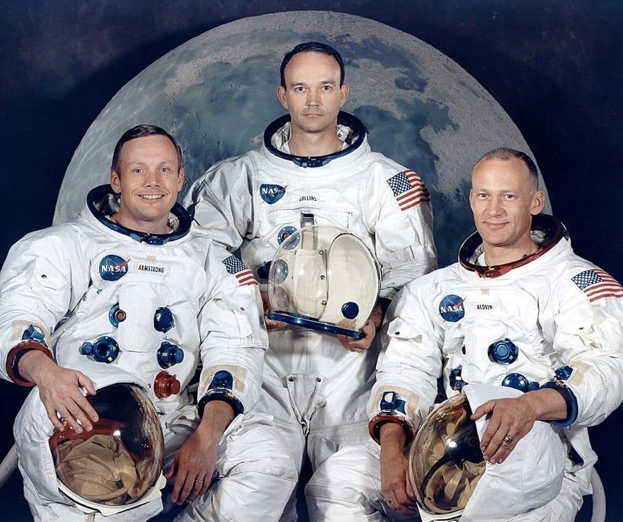 I tre astronauti dell'Apollo 11: da sinistra, Neil Armstrong, Michael Collins e Buzz Aldrin