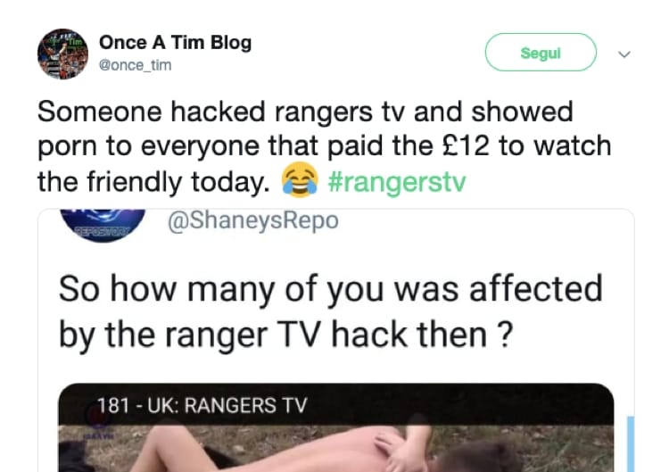 Uno dei tweet riguardanti l'hackeraggio del canale dei Rangers Glasgow