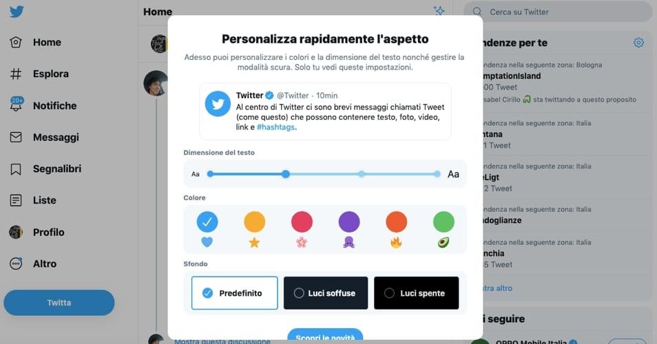 La personalizzazione nella nuova veste grafica di Twitter