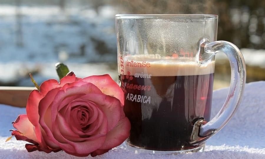 Un caffè e una rosa