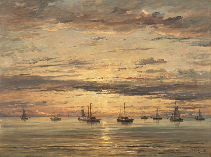 Tramonto a Scheveningen, una marina di Hendrik Willem Mesdag