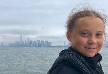 Greta Thunberg al suo arrivo a New York
