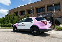 L'auto in rosa della polizia di Novi