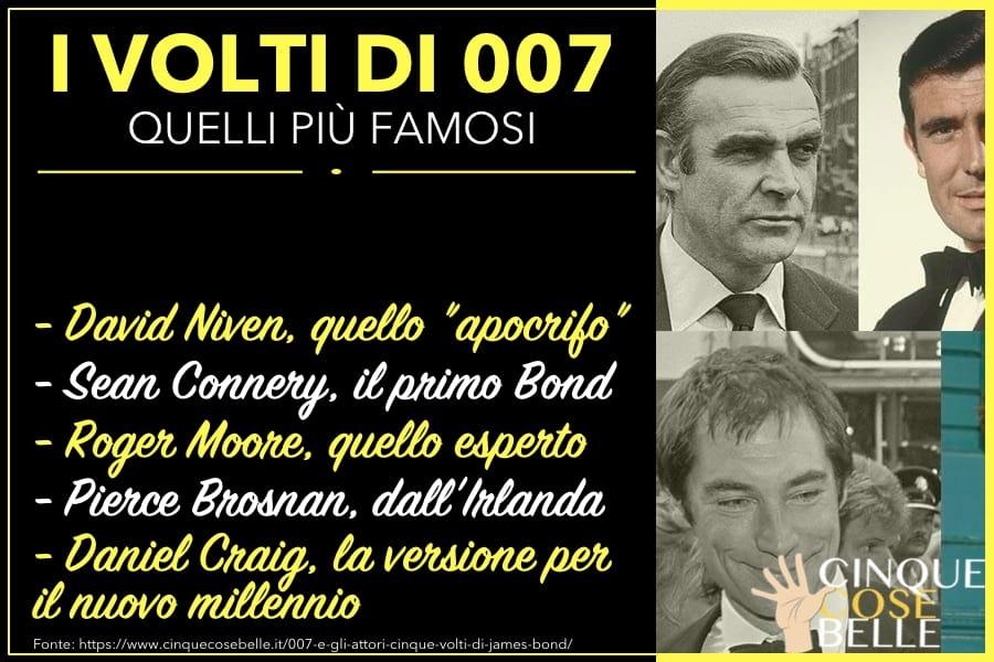 L'infografica sugli attori che hanno interpretato James Bond