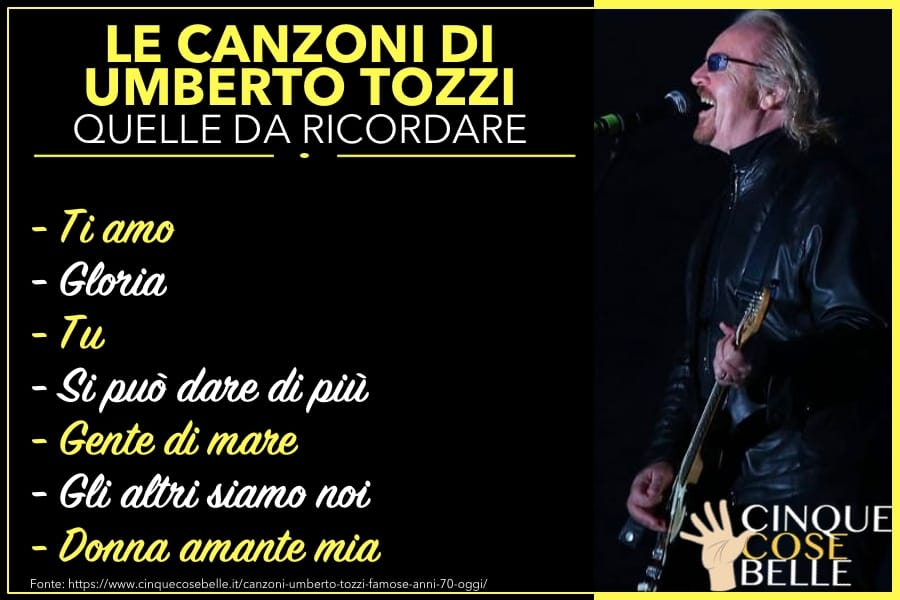 Le canzoni di Umberto Tozzi da ricordare