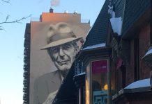 Ritratto di Leonard Cohen effettuato su un palazzo di Montreal