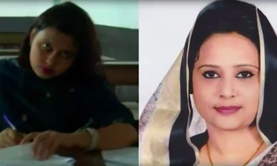A destra la deputata del Bangladesh e a sinistra una delle sue sosia che sostenevano gli esami