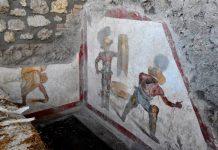 L'affresco dei gladiatori rinvenuto a Pompei