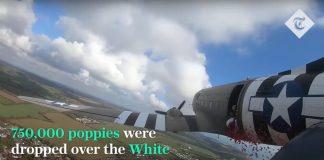 I papaveri lanciati sopra a Dover per il Remembrance Day
