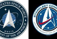 Il logo dell'astronautica militare americana comparato a quello di Star Trek