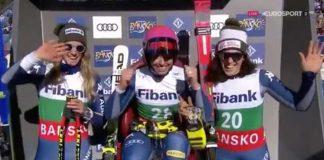 Le tre atlete azzurre: Elena Curtoni, Marta Bassino e Federica Brignone