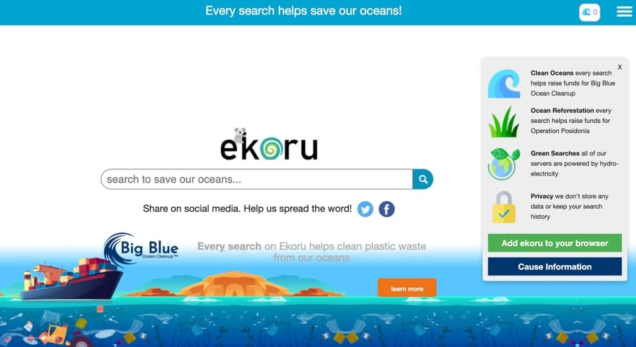Ekoru, il motore di ricerca che ama gli oceani