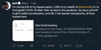 Il tweet con cui Jack Dorsey ha annunciato la sua donazione contro il coronavirus