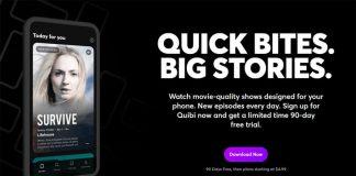 Il sito di Quibi, nuovo servizio di streaming