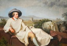 Goethe, l'autore de Le affinità elettive, ritratto nella campagna romana da Tischbein