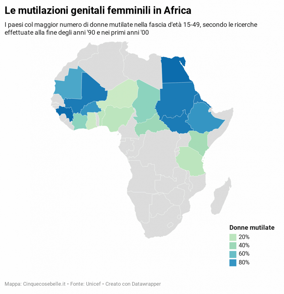 Mappa dei paesi in cui sono più diffuse le mutilazioni genitali femminili