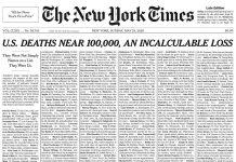 La prima pagina del New York Times dedicata ai morti da coronavirus