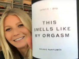 Gwyneth Paltrow mentre presenta al pubblico la sua nuova candela al gusto di orgasmo