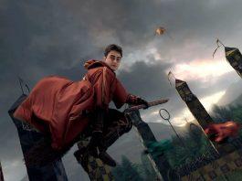 Harry Potter mentre gioca a Quidditch