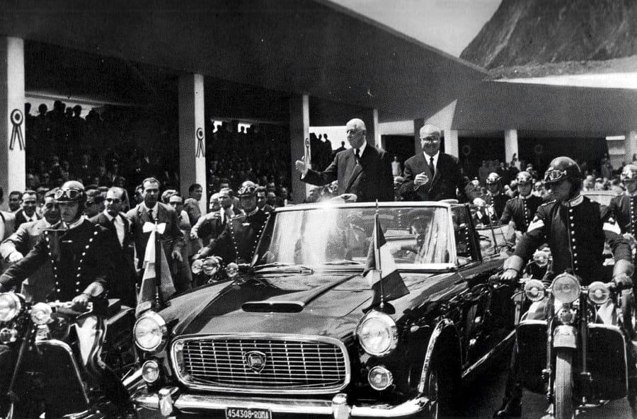 Saragat e De Gaulle all'inaugurazione del Traforo del Monte Bianco