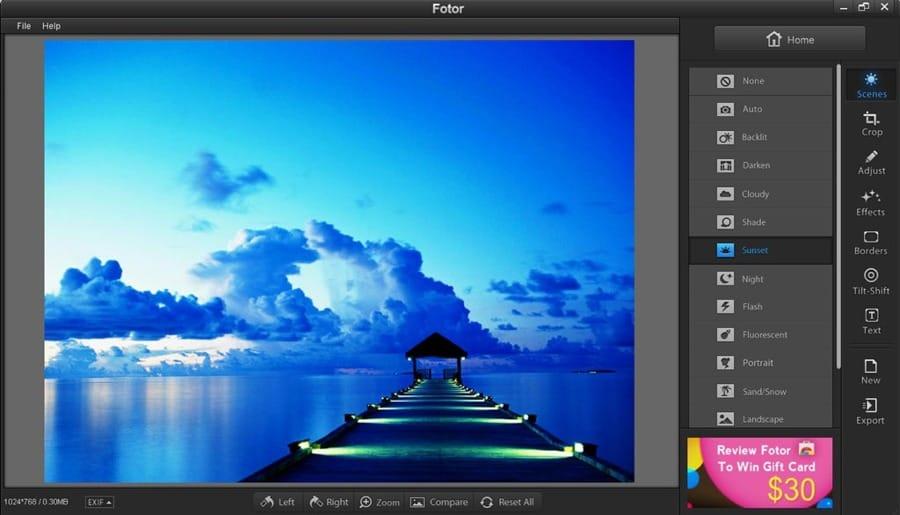 L'interfaccia di Fotor, programma di fotoritocco online e gratuito